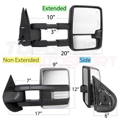Chevy Silverado 2500HD 2007-2014 Chrome Towing Mirrors Clear LED DRL Power Heated