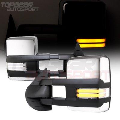 GMC Sierra 2007-2013 Chrome Towing Mirrors Clear Tube Signal Power Heated