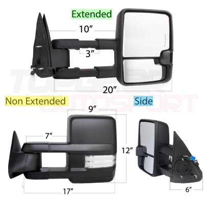 Cadillac Escalade 2003-2006 Towing Mirrors Clear Tube Signal Power Heated