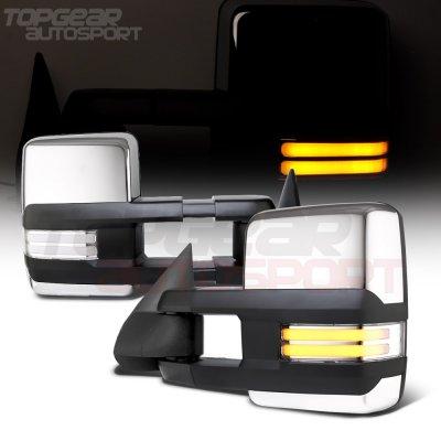 Chevy Silverado 2003-2006 Chrome Towing Mirrors Clear Tube Signal Power Heated