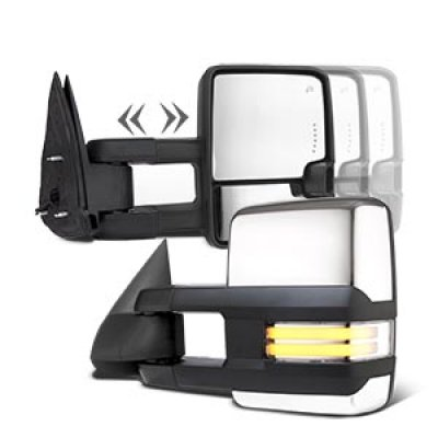 Chevy Silverado 2003-2006 Chrome Towing Mirrors Clear LED DRL Power Heated
