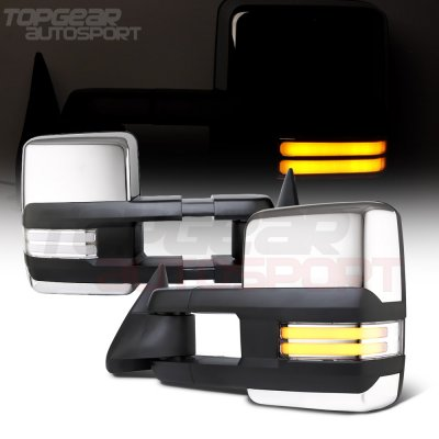 Cadillac Escalade 1999-2000 Chrome Power Towing Mirrors Clear Tube Signal Lights