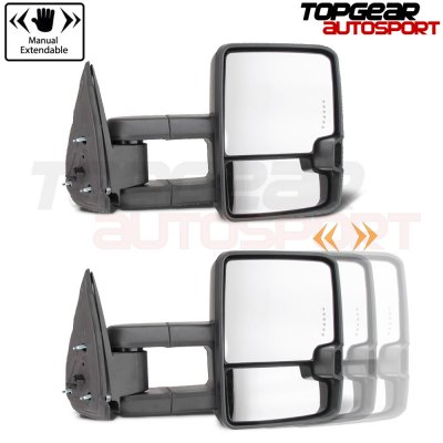Chevy 1500 Pickup 1988-1998 Chrome Power Towing Mirrors Clear Tube Signal Lights