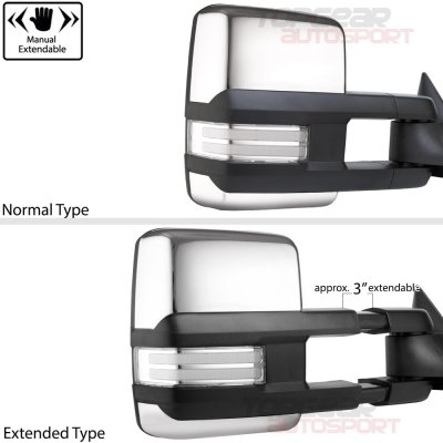 Chevy Silverado 1988-1998 Chrome Power Towing Mirrors Clear Tube Signal Lights