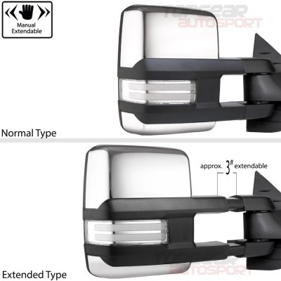 Chevy Silverado 2014-2018 Chrome Towing Mirrors Clear LED DRL Power Heated