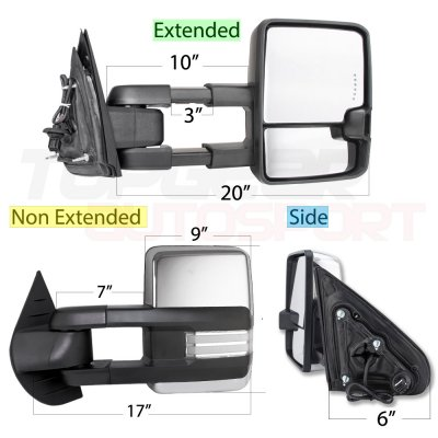 Chevy Silverado 2014-2018 Chrome Towing Mirrors Clear Tube Signal Power Heated