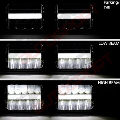 Jeep Wrangler 1987-1995 Black DRL LED Seal Beam Headlight Conversion