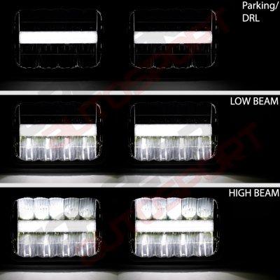 Nissan 240SX 1989-1994 Black DRL LED Seal Beam Headlight Conversion