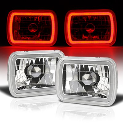 1989 Dodge Ram Van Red Halo Tube Sealed Beam Headlight Conversion
