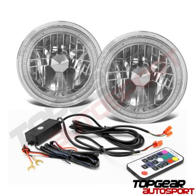 Chevy C10 Pickup 1967-1979 Color SMD LED Sealed Beam Headlight Conversion Remote