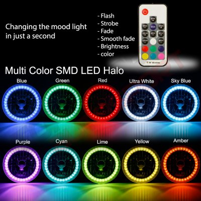 Hummer H1 2002-2006 Color SMD LED Sealed Beam Headlight Conversion Remote