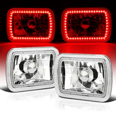 1995 Jeep Wrangler Red SMD LED Sealed Beam Headlight Conversion