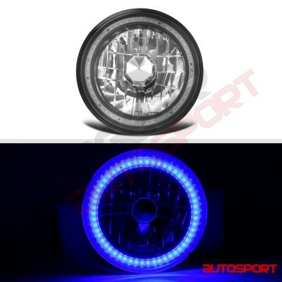 1976 Chevy Blazer Blue SMD LED Black Chrome Sealed Beam Headlight Conversion