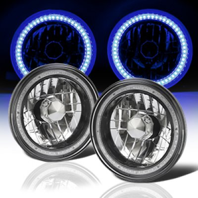 Plymouth Duster 1972-1976 Blue SMD LED Black Chrome Sealed Beam Headlight Conversion