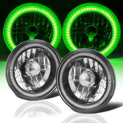 1975 Ford F100 Green SMD LED Black Chrome Sealed Beam Headlight Conversion