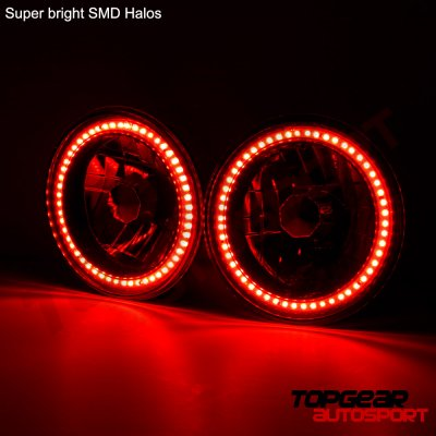 1974 Dodge Dart Red SMD LED Black Chrome Sealed Beam Headlight Conversion