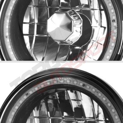 Dodge Dart 1972-1976 Red SMD LED Black Chrome Sealed Beam Headlight Conversion