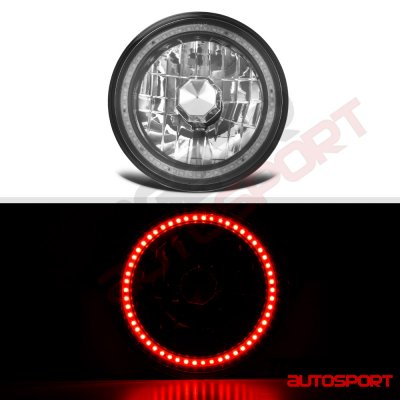 Dodge Pickup Truck 1969-1979 Red SMD LED Black Chrome Sealed Beam Headlight Conversion