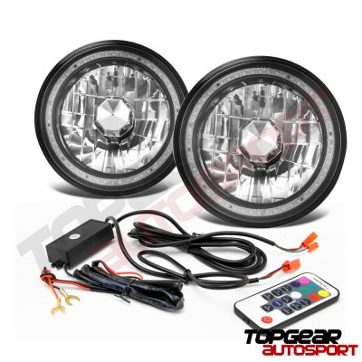 Chevy Monte Carlo 1970-1975 Color SMD LED Black Chrome Sealed Beam Headlight Conversion Remote