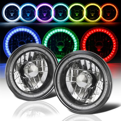 1976 Dodge Pickup Truck Color SMD LED Black Chrome Sealed Beam Headlight Conversion Remote