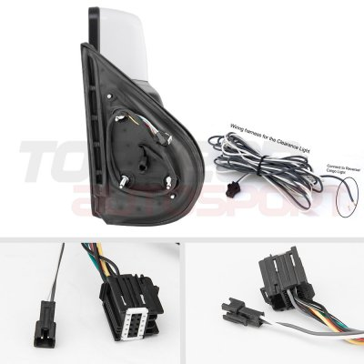 GMC Sierra 2007-2013 White Towing Mirrors LED Signal Lights Power Heated