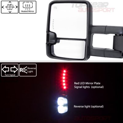 Chevy Silverado 2500HD 2007-2014 White Towing Mirrors Smoked LED Signal Lights Power Heated