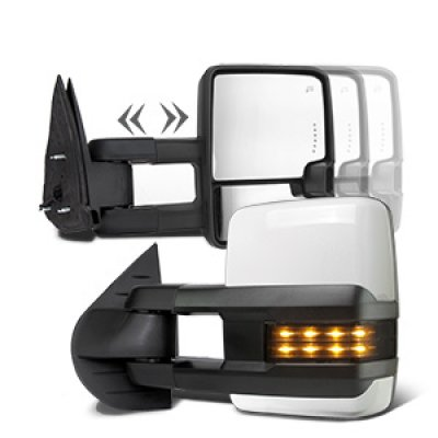 GMC Yukon XL Denali 2007-2014 White Towing Mirrors Smoked LED Signal Lights Power Heated