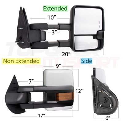 Chevy Silverado 2007-2013 White Towing Mirrors LED Signal Lights Power Heated
