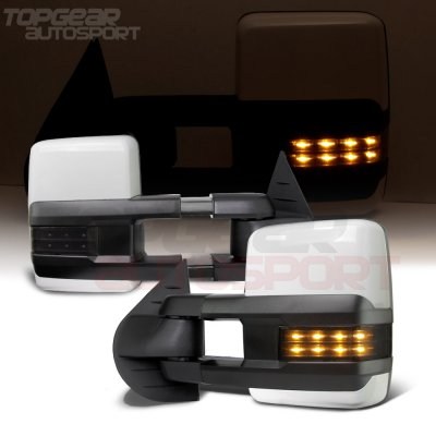 Chevy Silverado 2500HD 2007-2014 White Towing Mirrors Smoked LED Lights Power Heated