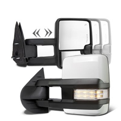 Chevy Silverado 2007-2013 White Towing Mirrors Clear LED Signal Lights Power Heated