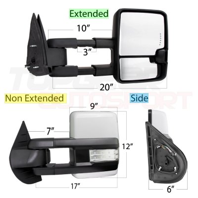 Chevy Silverado 2500HD 2007-2014 White Towing Mirrors Clear LED Signal Lights Power Heated