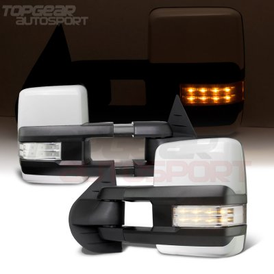 GMC Sierra 2007-2013 White Towing Mirrors Clear LED Lights Power Heated