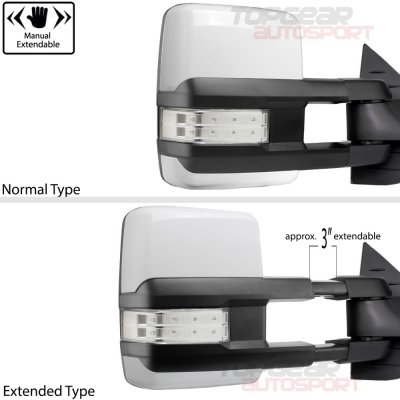 GMC Sierra 2007-2013 White Towing Mirrors Clear LED Signal Lights Power Heated