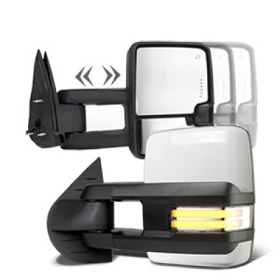 Chevy Silverado 2500HD 2007-2014 White Towing Mirrors Clear LED DRL Power Heated