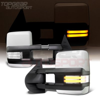 Chevy Suburban 2007-2014 White Towing Mirrors Clear LED DRL Power Heated