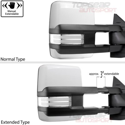 GMC Sierra 2007-2013 White Towing Mirrors Clear Tube Signal Power Heated