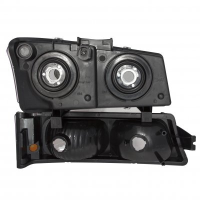 Chevy Silverado 3500 2003-2004 Black Gray Grille and Smoked Headlights Set