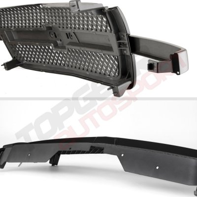 Chevy Silverado 3500 2003-2004 Black Gray Grille and Smoked Headlights Set