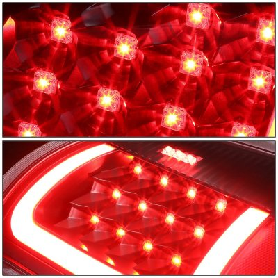 2008 Dodge Ram Black LED Tail Lights Red Tube