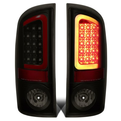 Dodge Ram 2002-2006 Black Smoked LED Tail Lights Red Tube