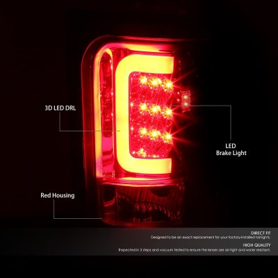 Dodge Ram 1994-2001 Red Clear LED Tail Lights Tube