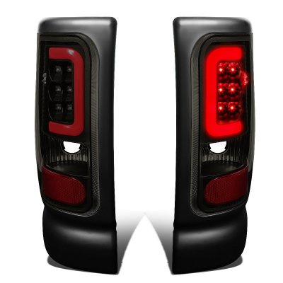 Dodge Ram 2500 1994-2002 Black Smoked LED Tail Lights Red Tube