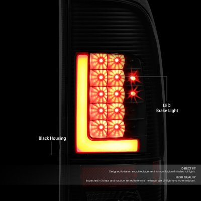 Ford F450 Super Duty 1999-2007 Black LED Tail Lights Tube