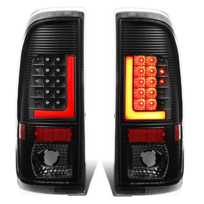 Ford F450 Super Duty 1999-2007 Black LED Tail Lights Red Tube