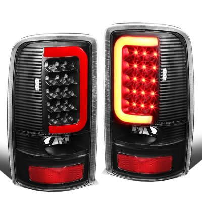 GMC Yukon 2000-2006 Black LED Tail Lights Red Tube