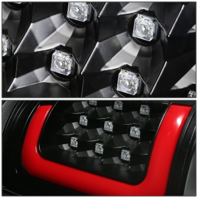 Chevy Silverado 2500HD 2001-2002 Black LED Tail Lights Red Tube