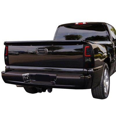 Chevy Silverado 2500HD 2001-2002 Black Smoked LED Tail Lights Red Tube