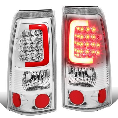 Chevy Silverado 2500HD 2001-2002 Chrome LED Tail Lights Red Tube