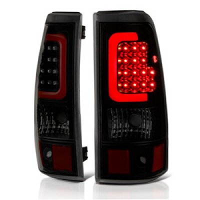 Chevy Silverado 2500HD 2003-2006 Black Smoked LED Tail Lights Red Tube