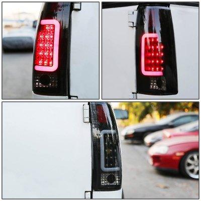 Cadillac Escalade 1999-2000 Black Smoked LED Tail Lights Tube